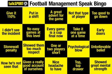 The Football Version of Bullshit Bingo - courtesy of Talksport